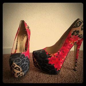 Multi color platform heels
